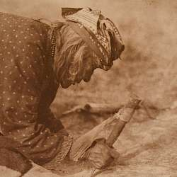 Fleshing a Hide - Blackfoot (1926)