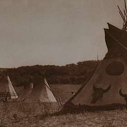 Painted tipis (Assiniboin)  (1926)