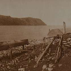 Walrus boats. Big Diomede in distance (1928)